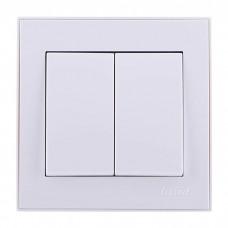 Выключатель двойной Lezard Rain, белый (703-0288-101)