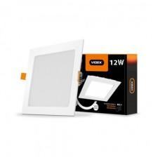 LED светильник встраиваемый квадрат VIDEX 12W 5000K 220V с регулировкой яркости