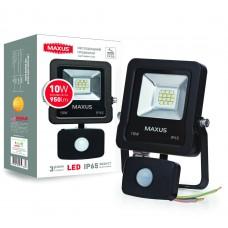 MAXUS прожектор светодиодный  с датчиком движения 1-MAX-01-LFL-1050s , 10W, 5000K