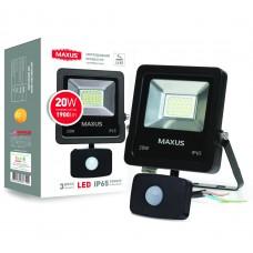 Прожектор светодиодный MAXUS  с датчиком движения 1-MAX-01-LFL-3050s , 30W, 5000K