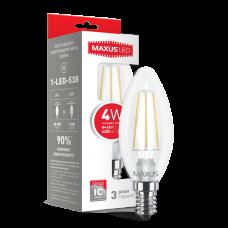 LED лампа MAXUS (филамент), C37, 4W, яркий свет,E14 (1-LED-538) (NEW)
