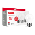 Набор LED ламп MAXUS G45 F 4W яркий свет 220V E27  (по 3шт.) (3-LED-5410)