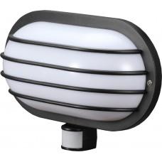 Светильник настенный с датчиком движения e.sensor.lum.69.e27.black (черный) 180°, IP44