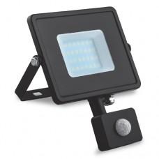 Светодиодный прожектор с датчиком движения Feron 10W, 6400K