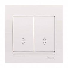 Выключатель проходной двойной Lezard Deriy, белый (702-0202-106)
