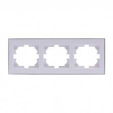 Рамка тройная Lezard Rain, белый со вставкой хром (703-0225-148)