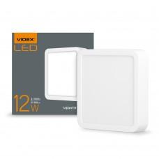 LED светильник накладной квадрат VIDEX 12W 5000K