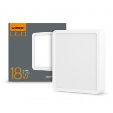 LED светильник накладной квадрат VIDEX 18W 5000K