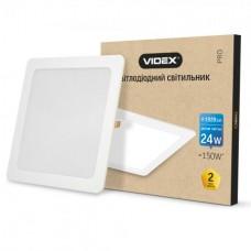 LED светильник встраиваемый квадрат VIDEX 24W 5000K 220V