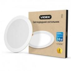 LED светильник встраиваемый круглый VIDEX 24W 5000K 220V